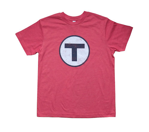 Youth MBTA Logo T-Shirt - Vintage Red