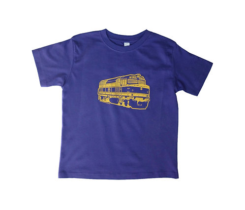 purple and gold MBTA commuter rail train shirt for toddlers