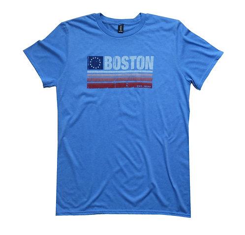 Heather Royal Blue Adult Boston Flag Banner T-shirt