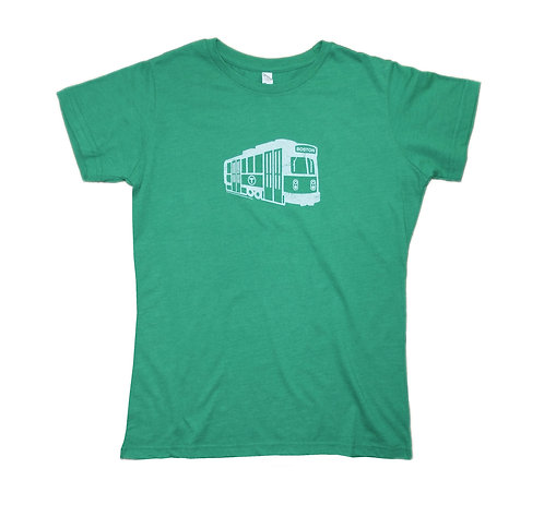 Heather Green Women's Boston MBTA Green Line Trolley T-shirt