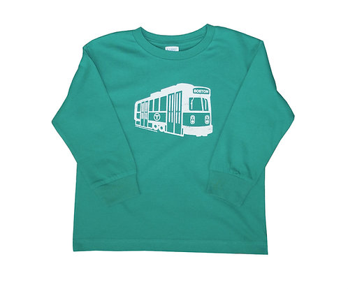 Toddler MBTA Long Sleeve Green Line Trolley Shirt