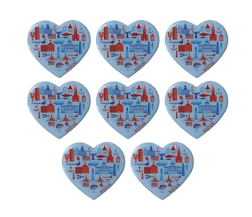 Heart Boston Souvenir Magnet - 8 pack