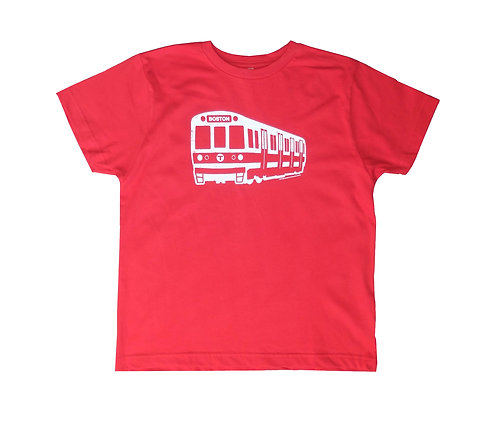 Red Youth Size Boston MBTA Red Line Train T-shirt