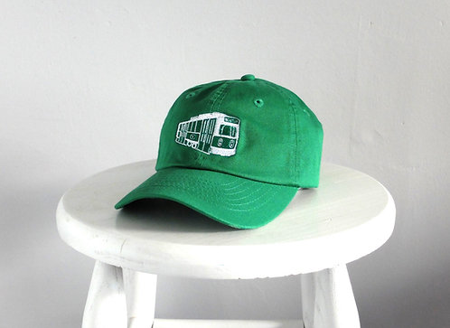 Green Kids Boston MBTA Trolley Embroidered Baseball Hat