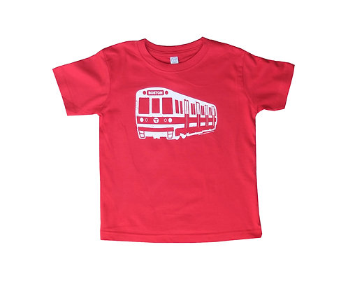red Boston MBTA Red Line train t-shirt for toddlers
