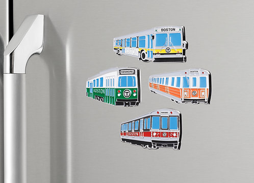 Boston MBTA Rail Transit Metal Refrigerator Magnet Collection