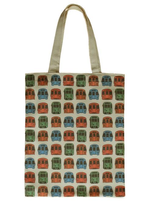 MBTA Train Pattern Canvas Tote Bag