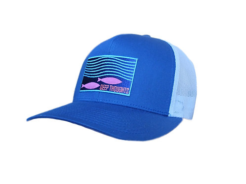 Royal Blue and White Embroidered Patch Fishing Trucker Cap