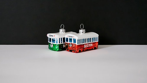 Green Line and Red Line Glass Holiday Ornaments