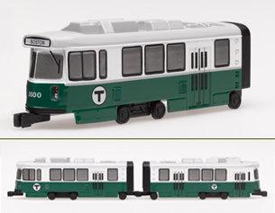Two MBTA Green Line Die Cast Trolley Cars