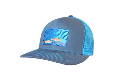 'Beneath the Surface' Patch Hat - Grey/Neon Blue Trucker