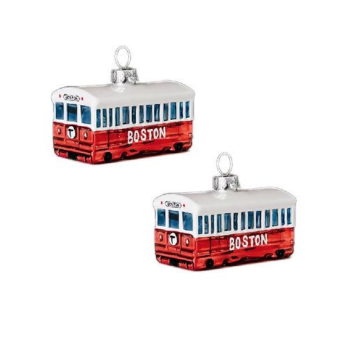 Two Boston MBTA Glass Red Line Christmas Ornaments