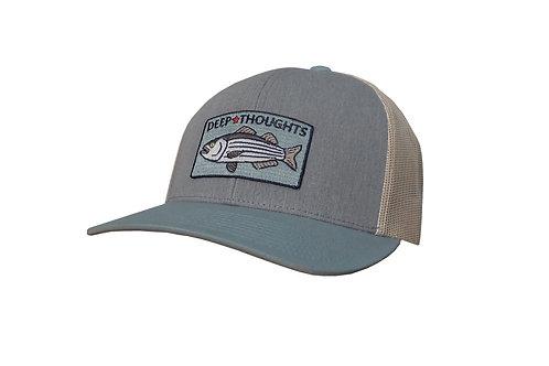 Grey, Blue, Beige Striper Fishing Trucker Patch Hat
