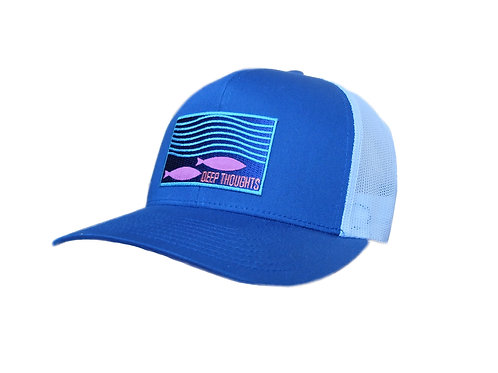 'Beneath the Surface' Patch Hat - Royal/White Trucker