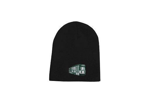 Kids Boston MBTA Embroidered Green Line Trolley Black Beanie Hat