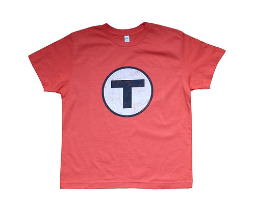 Youth MBTA Logo T-Shirt - Vintage Orange