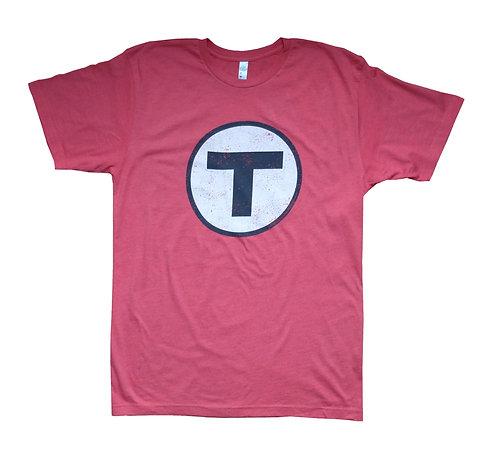 Red Adult Boston MBTA T Logo t-shirt