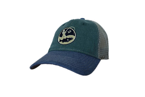 vintage wash green blue and sand embroidered fishing logo cap