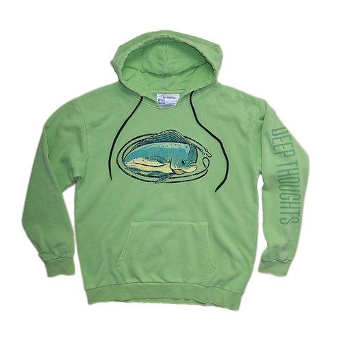 Vintage wash lime garment dye mahi-mahi hooded sweatshirt
