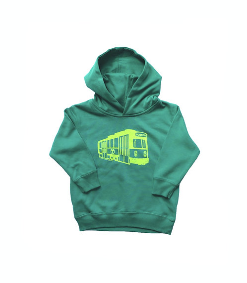 Green Boston MBTA Green Line Trolley Hoodie for Toddlers