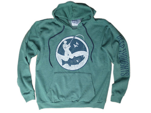 Heather green fisherman logo hooded sweatshirt