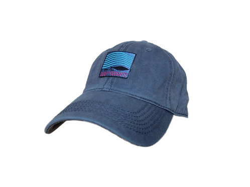 Navy blue embroidered fishing patch dad hat