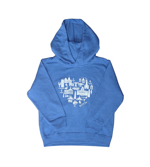 Blue Boston attractions heart-shaped graphic hoodie