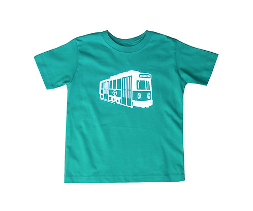 green Boston MBTA Green Line trolley t-shirt for toddlers