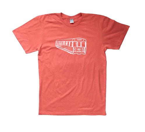 Heather Orange Adult Boston Orange Line Train T-shirt