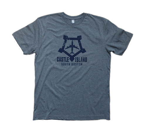 Adult Heather Grey Boston Castle Island Airplane Logo T-shirt