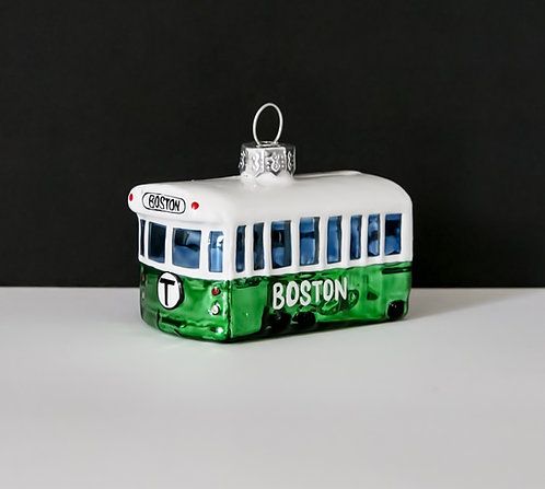 Green Line Glass Holiday Ornament