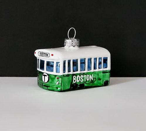 Boston MBTA Green Line Glass Christmas Ornament