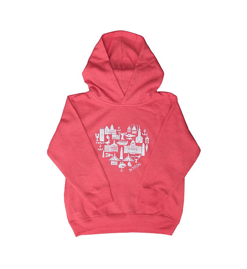 Boston attractions heart-shaped graphic hoodie for toddlers