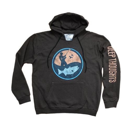Dark grey fisherman logo hooded sweatshirt