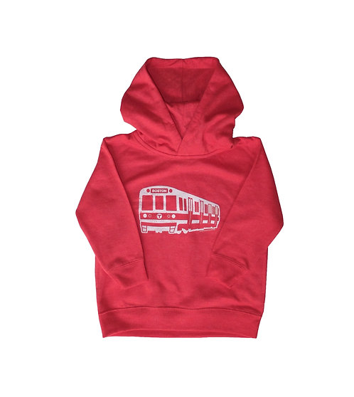 Heather Red Boston MBTA Red Line Train Hoodie for Toddlers