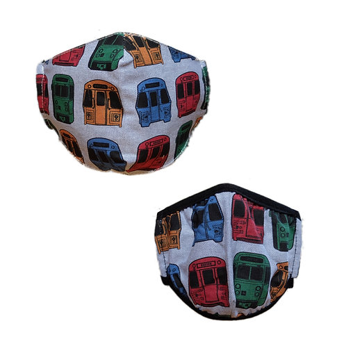 Adult and Kids Matching Boston MBTA Face Masks Front View
