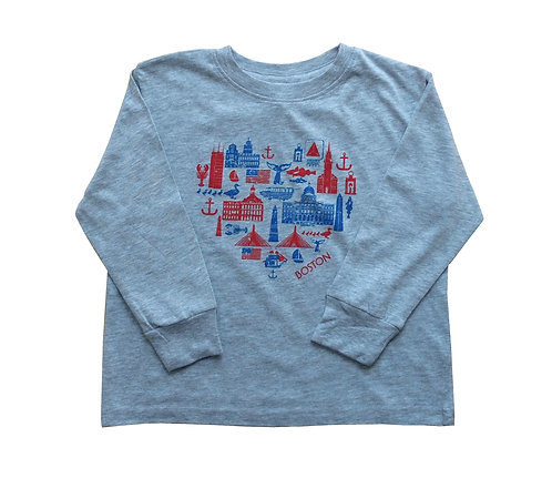 Toddler Heart Boston Long Sleeve T-Shirt - Grey