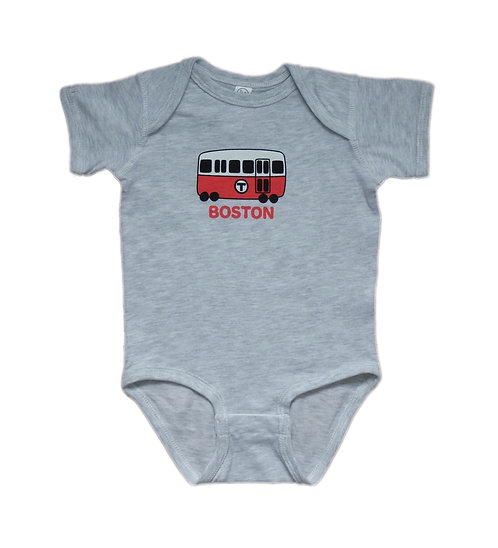Ash Color Onesie with Cute Boston Red Line Train
