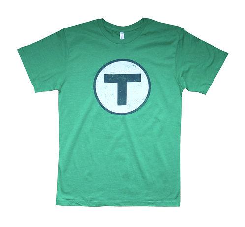 Green Adult Boston MBTA T Logo t-shirt