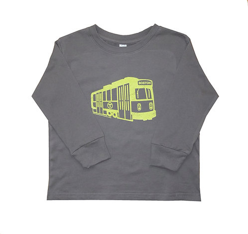 Toddler charcoal grey long sleeve Green Line Trolley shirt