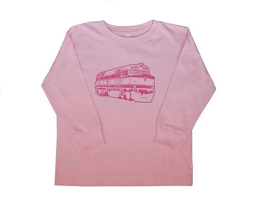 Toddler Long Sleeve MBTA Commuter Rail T-Shirt - Pink