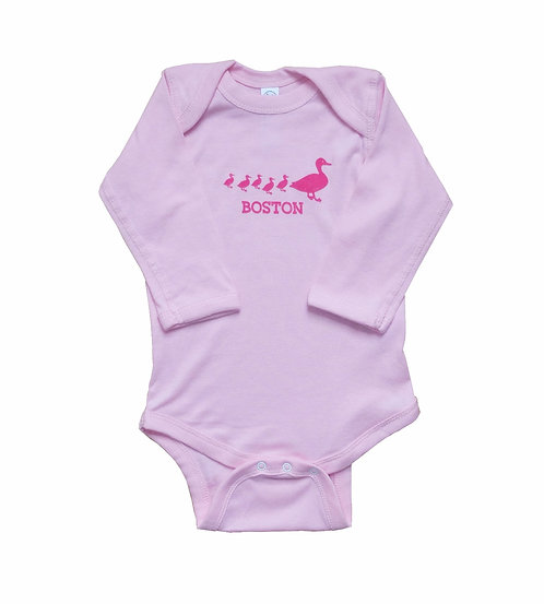 Pink long sleeve Boston Ducklings onesie | creeper for infant girls