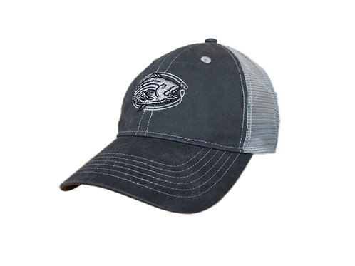Vintage wash charcoal and light grey striped bass trucker cap