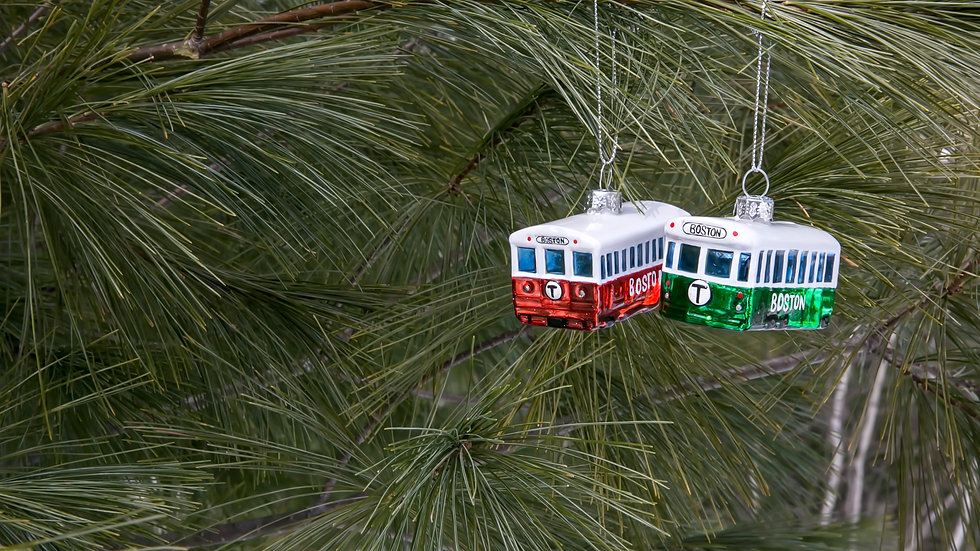 Boston Red and Green Line Tree Ornaments
