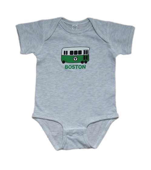 Ash Color Onesie with Cute Boston Green Line Trolley