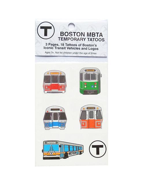Boston MBTA trains and logos temporary tattoos