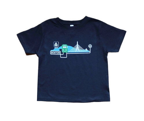 Navy Blue Toddler T-shirt with Boston Trolley, Zakim and Citgo Sign