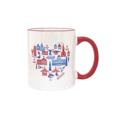Boston Icons Heart Shaped Landmarks of Boston Coffee Mug