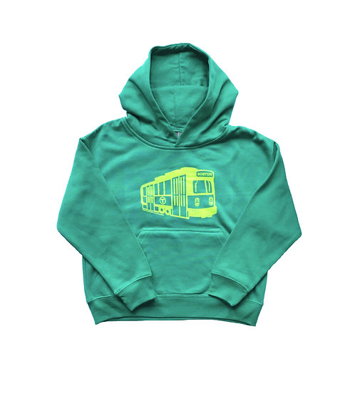 Green Boston MBTA Green Line Trolley Hoodie for Boys and Girls