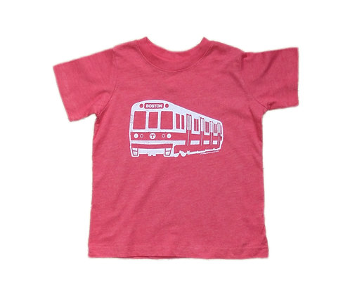 Heather Red Toddler MBTA Red Line Train T-shirt